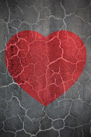 Heartbreak shape on crack wall