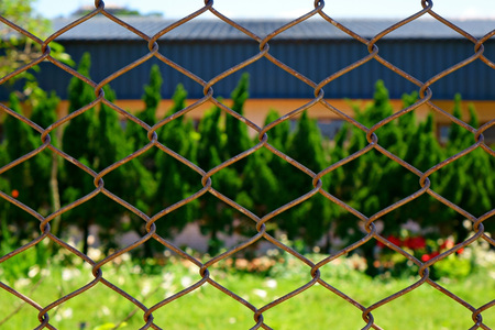 Wired fence with bokeh background