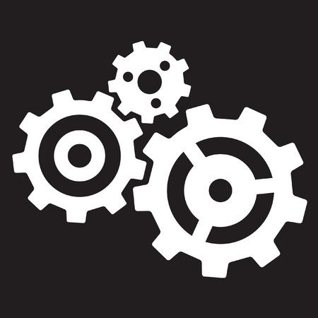 Three gears isolated on black background Ilustracja