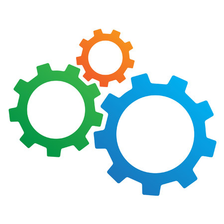 Three gears with copy space.
