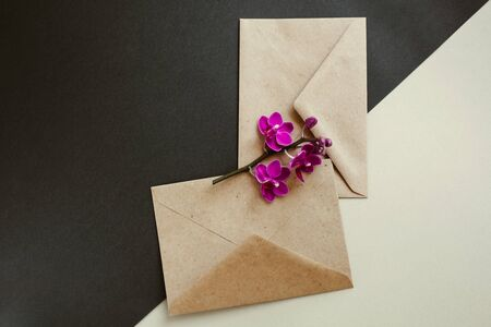 Two envelopes made of environmentally friendly brown material. Simple brown paper envelopes for letters. Purple Orchid flowers for decoration. The layout for the design. Stock fotó