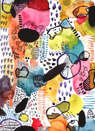 Abstract watercolor background for your design. Beautiful combination of pink, red, yellow, green and blue colors. Pattern with Doodle circles randomly distributed, watercolor abstract illustration. Interesting elements are black.