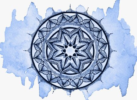 Black mandala on a blue background. Copyright mandala pattern on a blue watercolor background. Beautiful patterns for your design. Isolated. Yoga logo, background for meditation poster. Color 2020 Classic Blue. Stock fotó