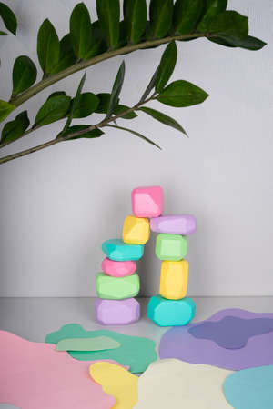 Wooden cubes with different faces for the development of coordination and balancing. Bright toys for children made of natural wood. Zero waste. Safe toys for kids.