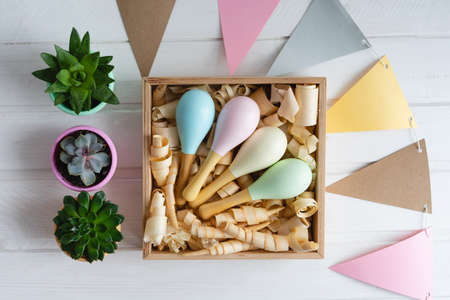Colorful maracas in a wooden box with shavings. Wooden rattles for toddlers. Childrens safe toys. Three pots of succulents.