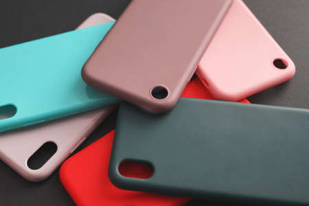 A set of multi-colored cases for the smartphone. Silicon smartphone cases.