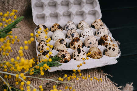 Quail eggs in eco-friendly packaging. The package of quail eggs lies on the burlap. 版權商用圖片