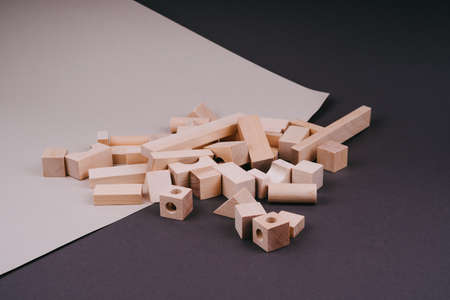 Childrens wooden construction set. Eco-toys.