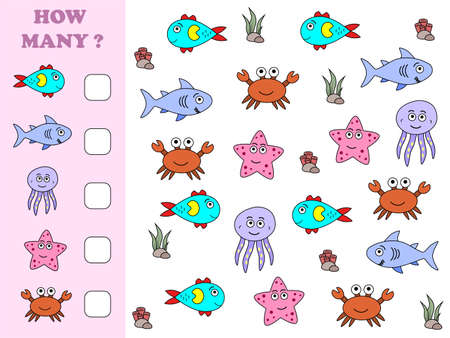 Educational math game for preschool children. How many objects task. Counting game for kids. Kids activity page.