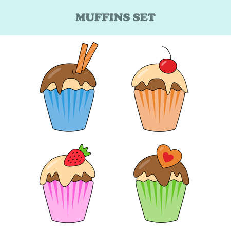 Set of muffins. Çizim