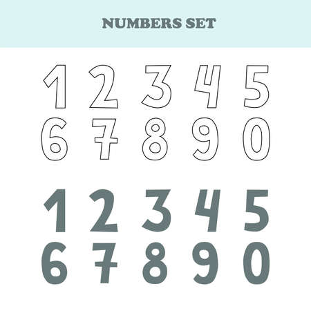 Set of numbers from one to zero. Set of hand drawn numbers isolated on white. Good for beginners in math. Illustration