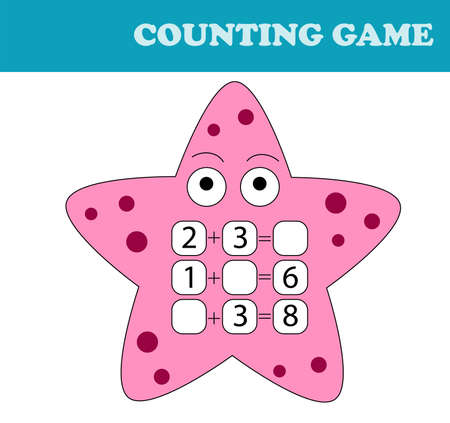 Counting Game for Preschool Children. Educational a mathematical game. Count the numbers in the picture and write the result. 向量圖像