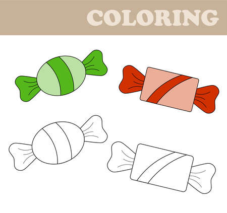 Coloring page with sweets. Coloring book for children. Educational childrens game, drawing kids activity, printable sheet. Иллюстрация
