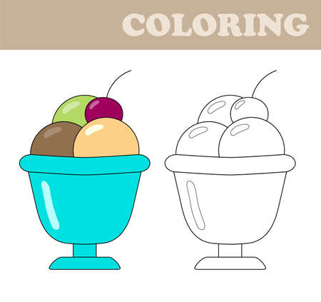 Coloring Page With Ice Cream Book For Children Educational Childrens Game Drawing