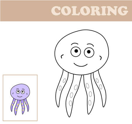 Coloring page with octopus. Coloring book for children. Educational childrens game, drawing kids activity, printable sheet. Illustration