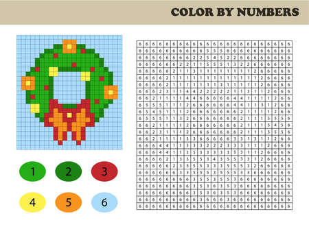 Color by numbers, education game for children. Coloring book with numbered squares. Christmas wreath. 일러스트