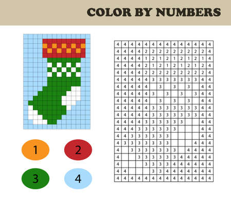 Color by numbers, education game for children. Coloring book with numbered squares. Christmas socks. 일러스트
