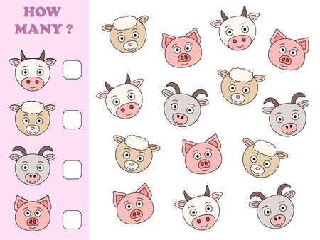 How many objects task. Educational math game for preschool children. Counting game for kids. Farm animals.
