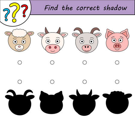 Find the correct shadow. Children educational game. Kids activity page. Farm animals.