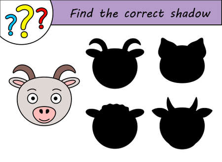 Find the correct shadow. Children educational game. Kids activity page. Goat.
