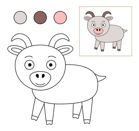 Coloring book for children. Drawing kids activity. Children activity page. Goat.