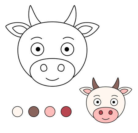 Coloring book for children. Drawing kids activity. Children activity page. Cow.