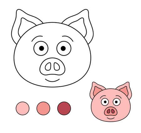 Coloring book for children. Drawing kids activity. Children activity page. Pig. Illusztráció