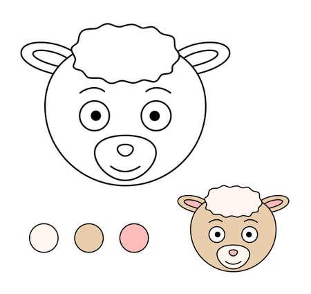 Coloring book for children. Drawing kids activity. Children activity page. Sheep. Illusztráció
