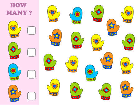 How many objects task. Educational math game for preschool children. Counting game for kids. Christmas. Mittens.