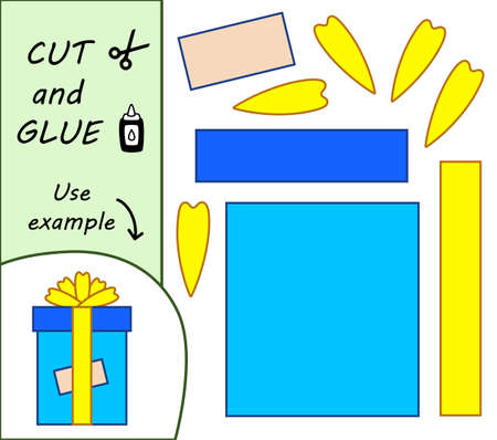 Education paper for preshool children. Paper crafts for kids. Use scissors, cut parts of the image and glue to create the gift.