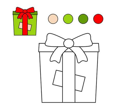 Colouring book for children. Drawing kids activity. Gift box. Illusztráció