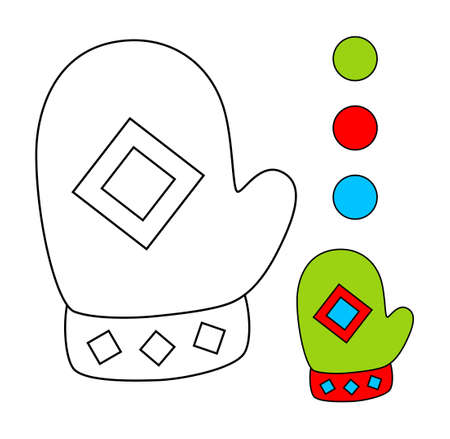 Livre de coloriage pour les enfants. Activité de dessin pour les enfants. Mitaines.