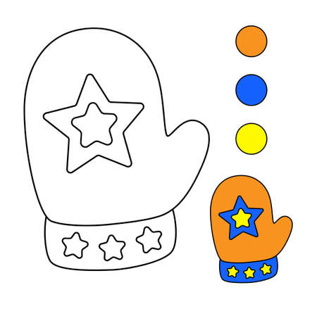 Colouring book for children. Drawing kids activity. Mittens.