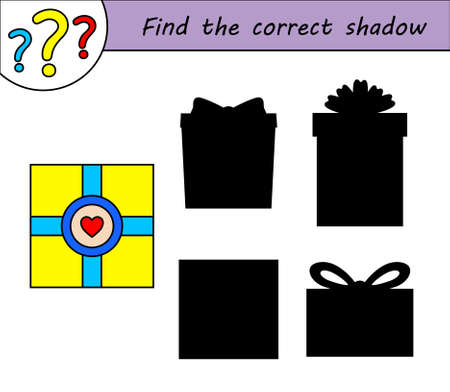 Find the correct shadow. Children educational game. Kids activity page. Gift box.