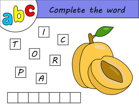 Kids game, complete the word, learning english alphabet