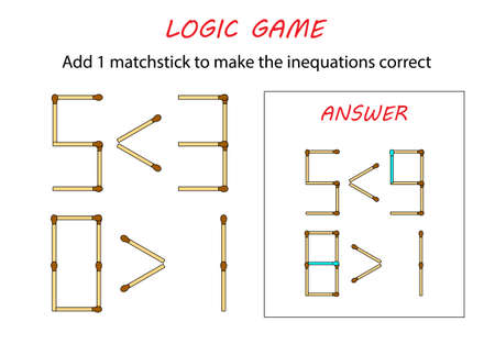 Logic game for kids. Puzzle game with matches. Add 1 matchstick to make the inequations correct.