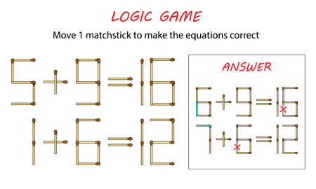 Logic game for kids. Puzzle game with matches. Move 1 matchstick to make the equations correct.