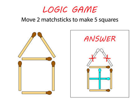Logic game for kids. Puzzle game with matches. Move 2 matchsticks to make 5 squares. Stock Illustratie