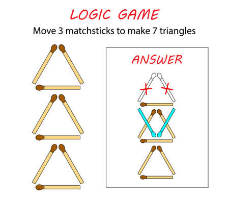 Logic game for kids. Puzzle game with matches. Move 3 matchsticks to make 7 triangles. Illusztráció