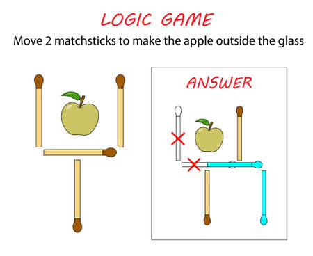 Logic game for kids. Puzzle game with matches. Move 2 matchsticks to make the apple outside the glass.
