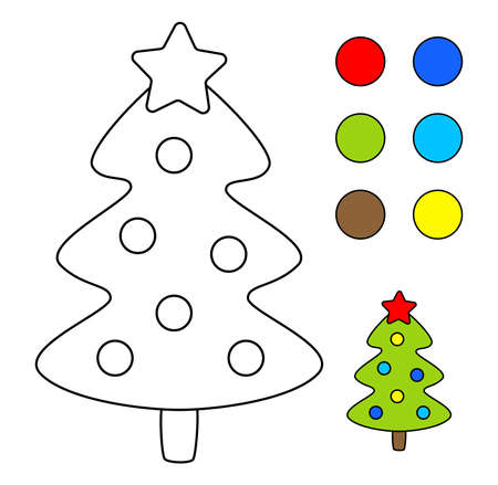 Coloring book for children. Drawing kids activity. Christmas tree. Illusztráció