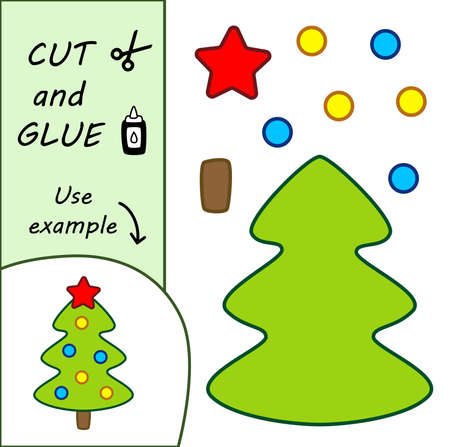 Education paper for preshool children. Paper crafts for kids. Use scissors, cut parts of the image and glue to create the christmas tree. Illusztráció