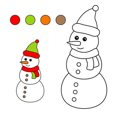 Coloring book for children. Drawing kids activity. Christmas. Snowman.