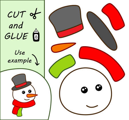 Education paper game. Paper crafts for kids. Use scissors, cut parts of the image and glue to create the snowman. Illusztráció