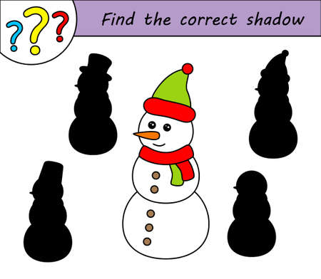Find the correct shadow. Children educational game. Kids activity page. Snowman.