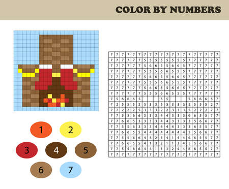 Color by numbers, education game for children. Coloring book with numbered squares. Christmas. Decorated fireplace.
