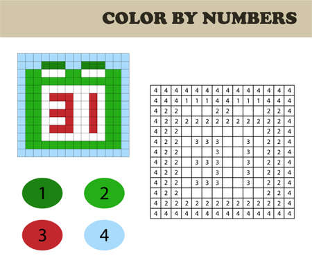 Color by numbers, education game for children. Coloring book with numbered squares. Christmas. Calendar. Illusztráció