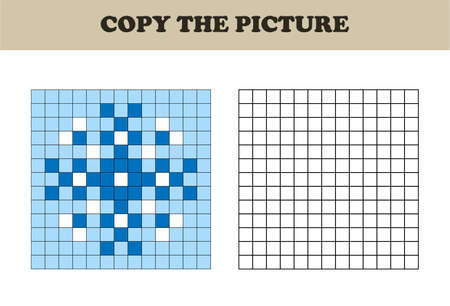 Copy the picture. Drawing kids activity. Educational game for preschool children. Christmas. Snowflake. Illusztráció