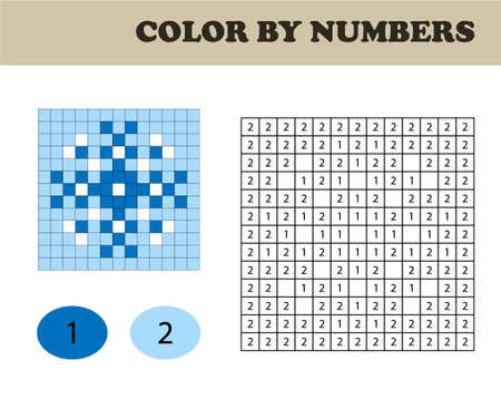 Color by numbers, education game for children. Coloring book with numbered squares. Christmas. Snowflake.