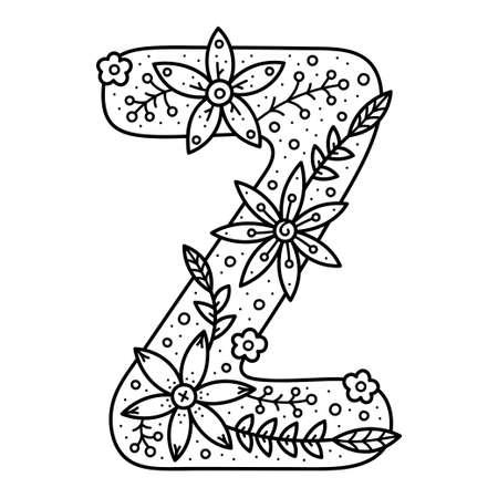 Floral alphabet. Black and white doodle letter. Coloring book for adults and kids. Illusztráció